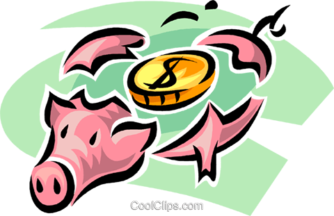 broken piggy bank Royalty Free Vector Clip Art illustration vc062378