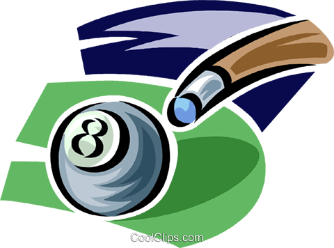 Pool ball and cue Royalty Free Vector Clip Art illustration vc062388