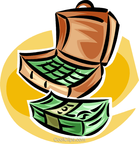 briefcase full of money Royalty Free Vector Clip Art illustration vc062400