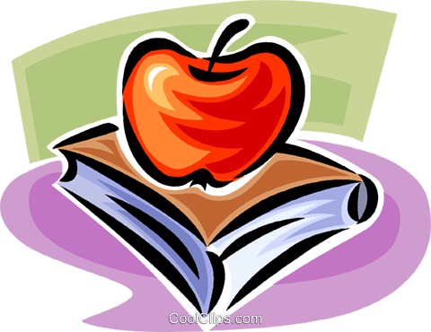 apples and school books Royalty Free Vector Clip Art illustration vc062410