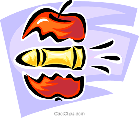 bullet going through an apple Royalty Free Vector Clip Art illustration vc062411