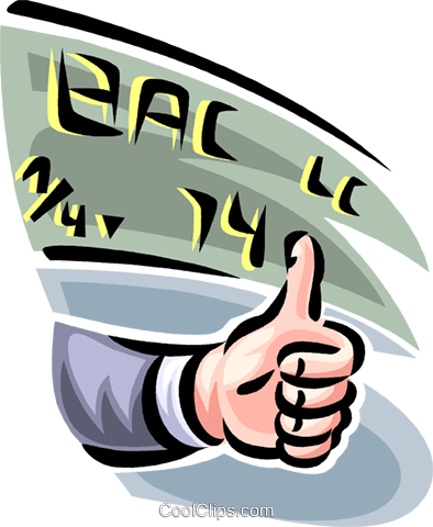 thumbs up market projections Royalty Free Vector Clip Art illustration vc062421