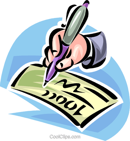 hand with fountain pen signing a check Royalty Free Vector Clip Art illustration vc062424