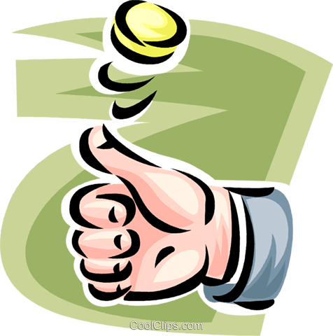 hand flipping a coin Royalty Free Vector Clip Art illustration vc062425