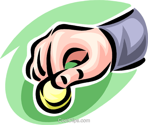 hand holding a coin Royalty Free Vector Clip Art illustration vc062426
