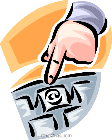 hand pointing to a computer key Royalty Free Vector Clip Art illustration vc062428
