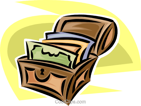 treasure chest with documents Royalty Free Vector Clip Art illustration vc062429
