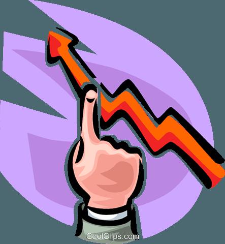 Hand zeigt auf ein Umsatzwachstum Diagramm Vektor Clipart Bild ...