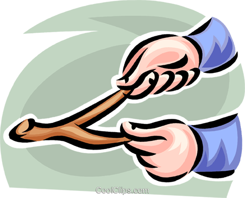 hands holding a divining rod Royalty Free Vector Clip Art illustration vc062434