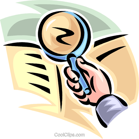 magnifying glass and newspaper Royalty Free Vector Clip Art illustration vc062435