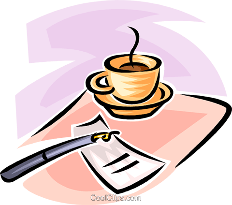 cup of coffee, fountain pen and a saucer Royalty Free Vector Clip Art illustration vc062464