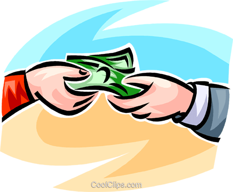 dollar bills exchanging hands Royalty Free Vector Clip Art illustration vc062468