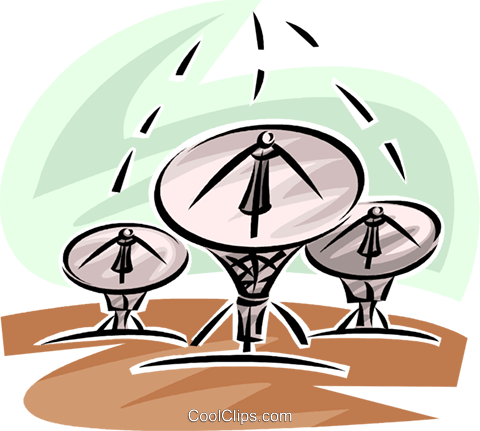 satellite dishes Royalty Free Vector Clip Art illustration vc062473
