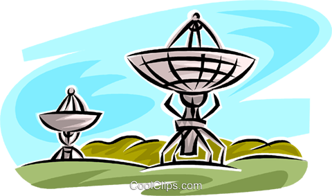 satellite dishes Royalty Free Vector Clip Art illustration vc062474
