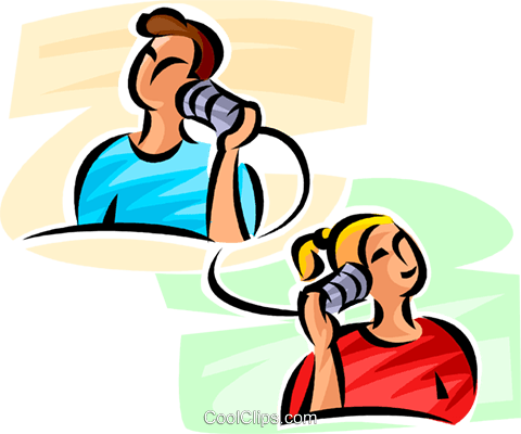 people talking on the telephone Royalty Free Vector Clip Art illustration vc062477