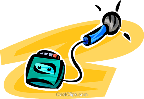 microphone and tape recorder Royalty Free Vector Clip Art illustration vc062502