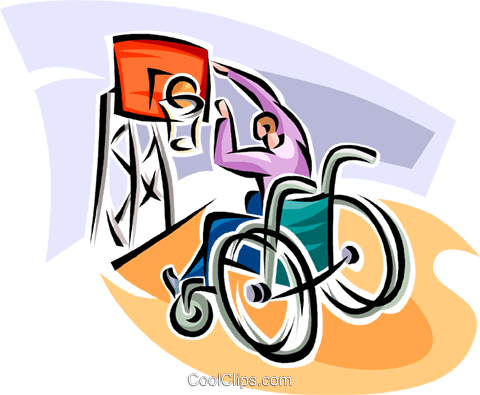 wheelchair basketball player Royalty Free Vector Clip Art illustration vc062523