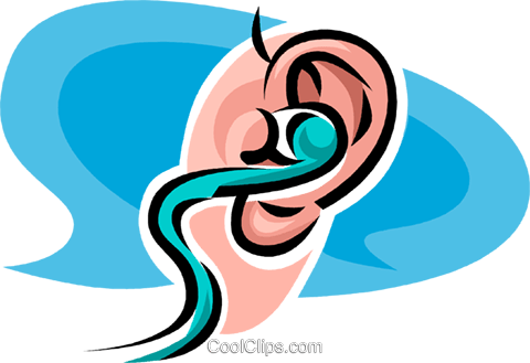 ear with a hearing aid in it Royalty Free Vector Clip Art illustration vc062526