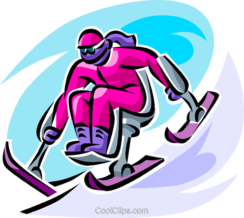 disabled downhill skier Royalty Free Vector Clip Art illustration vc062528