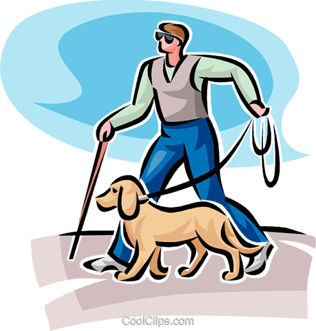 blind person walking Royalty Free Vector Clip Art illustration vc062533