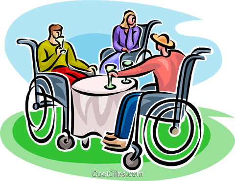 people in wheelchairs having a drink Royalty Free Vector Clip Art illustration vc062536