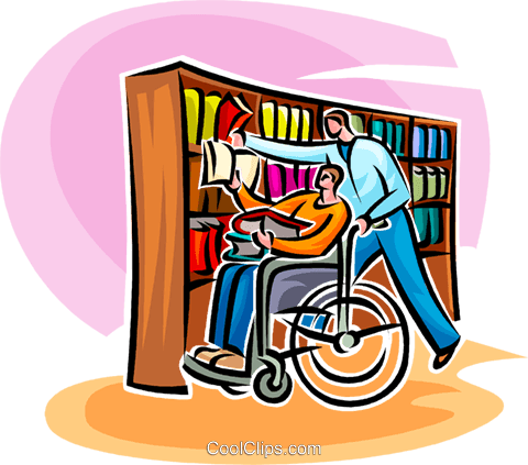 men visiting a library Royalty Free Vector Clip Art illustration vc062543