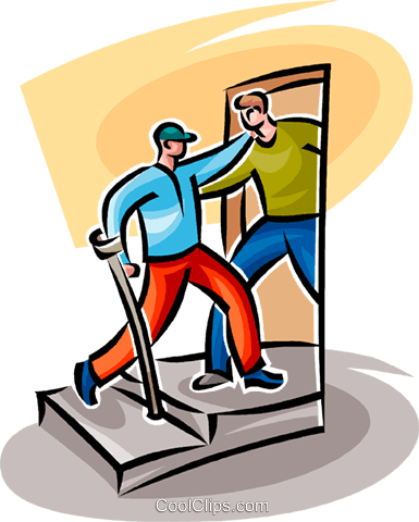 man helping a disabled person Royalty Free Vector Clip Art illustration vc062546