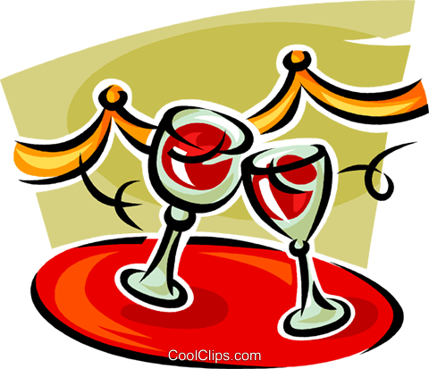 wine glasses on a serving tray Royalty Free Vector Clip Art illustration vc062559