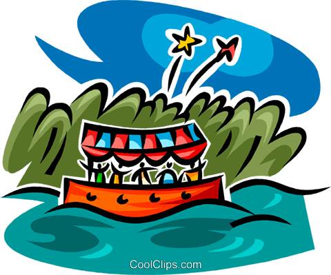 boat ride and fireworks Royalty Free Vector Clip Art illustration vc062581