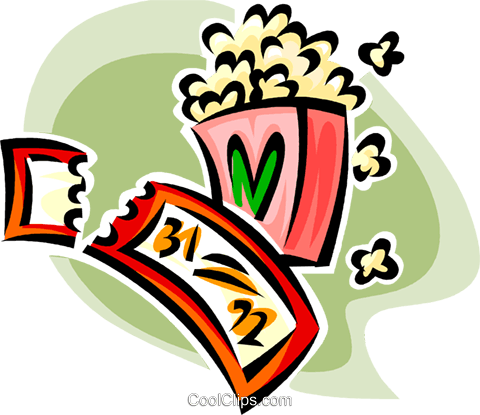 movie ticket and popcorn Royalty Free Vector Clip Art illustration vc062585