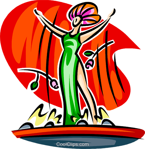 Actress on stage Royalty Free Vector Clip Art illustration vc062594