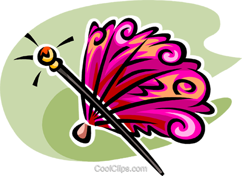 hand fan and walking stick Royalty Free Vector Clip Art illustration vc062597