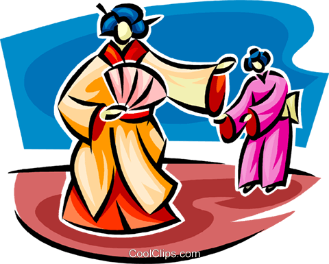 Japanese woman in a kimono Royalty Free Vector Clip Art illustration vc062616