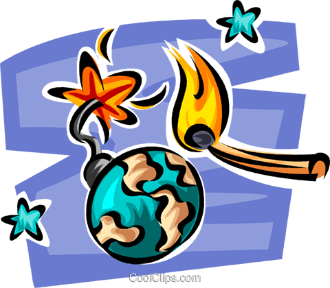 globe as a time bomb Royalty Free Vector Clip Art illustration vc062625