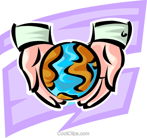 the earth is in good hands Royalty Free Vector Clip Art illustration vc062636