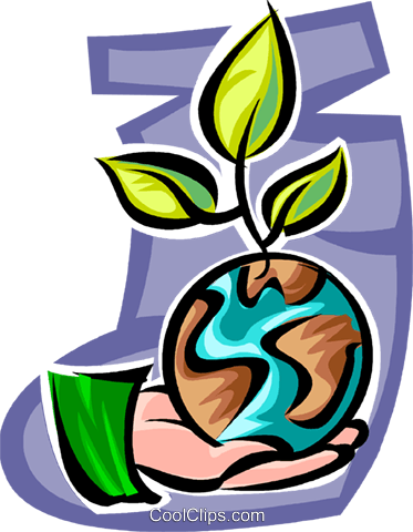 Hand with planet earth and plant Royalty Free Vector Clip Art illustration vc062638