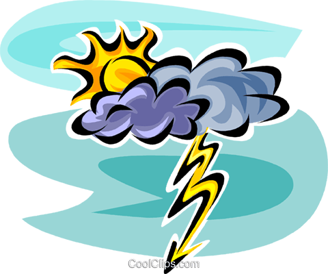 Clouds and Lightning Royalty Free Vector Clip Art illustration vc062640