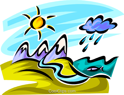 Mountain range with rain clouds Royalty Free Vector Clip Art illustration vc062654