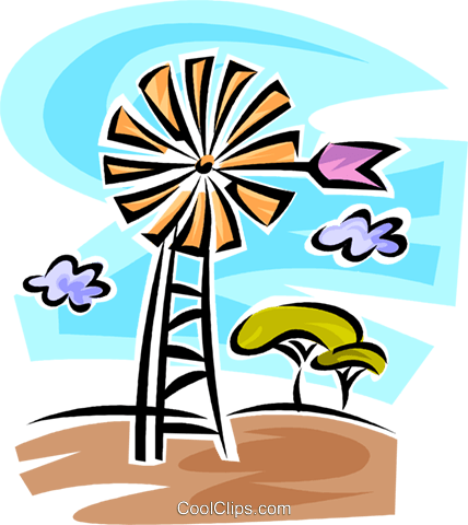 Windmills Royalty Free Vector Clip Art illustration vc062697
