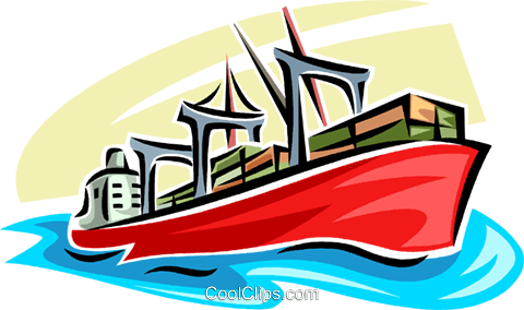 Ships Carrying Cargo and Freight Royalty Free Vector Clip Art illustration vc062728