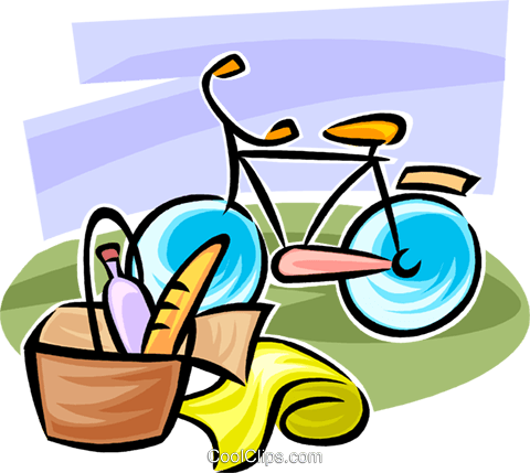 Bicycle and picnic basket Royalty Free Vector Clip Art illustration vc062737