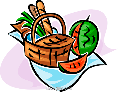 picnic basket and watermelon Royalty Free Vector Clip Art illustration vc062740