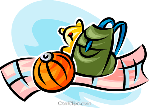 knapsack, stuffed animal and a ball Royalty Free Vector Clip Art illustration vc062742