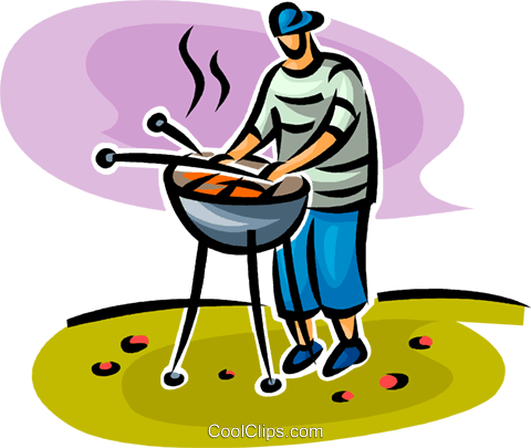 person cooking on the barbecue Royalty Free Vector Clip Art illustration vc062745