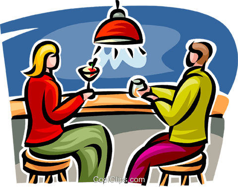 couple sitting at the bar Royalty Free Vector Clip Art illustration vc062751