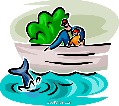 father and son looking at a whale Royalty Free Vector Clip Art illustration vc062759