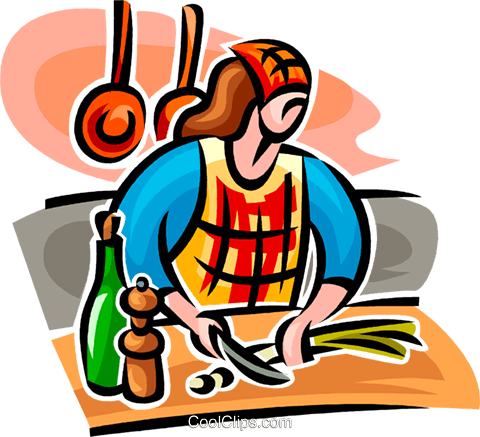 woman cooking Royalty Free Vector Clip Art illustration vc062760
