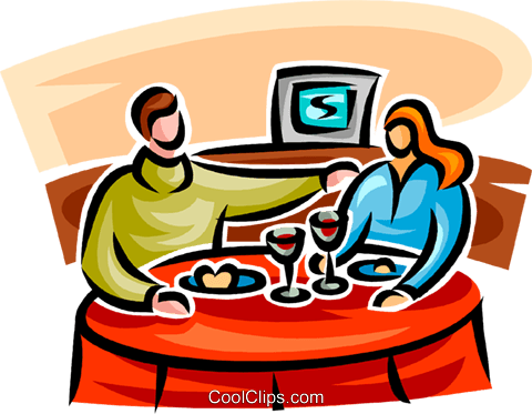 couple eating at a restaurant Royalty Free Vector Clip Art illustration vc062764