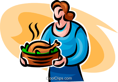 Woman with roast turkey Royalty Free Vector Clip Art illustration vc062765
