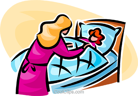 woman tucking a girl into bed Royalty Free Vector Clip Art illustration vc062771